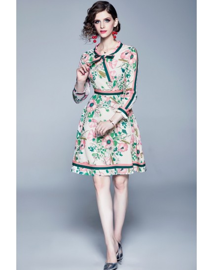 BDS10070509H Pink printed florrie dress REAL PHOTO
