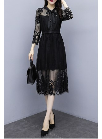 KDS10083119B Lace long sleeves bow dress REAL PHOTO