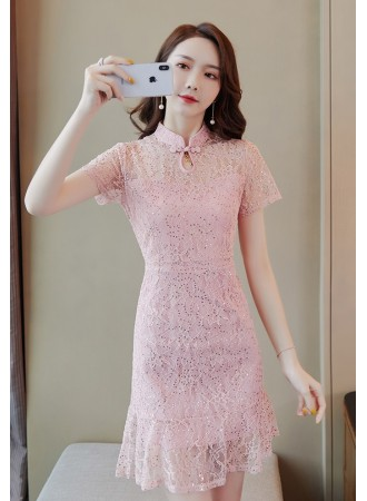 KDS10092108Q Embroidery lace sequin mermaid cheongsum dress REAL PHOTO