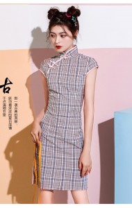 KDS10091708Y Checker cheongsum dress REAL PHOTO