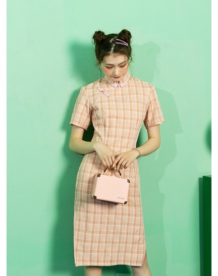 KDS10091050Y Checker cheongsum dress REAL PHOTO