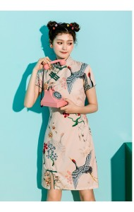KDS10097580Y Printed cheongsum dress in pink REAL PHOTO