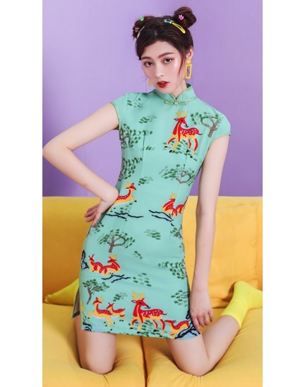 KDS10097780Y Deer print cheongsum dress in pink REAL PHOTO