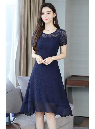 KDS10105759Y Plus size lace flared dress REAL PHOTO