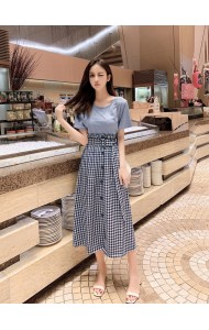 KST10105066Z Checker skirt with t shirt set REAL PHOTO