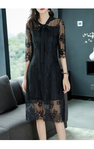 KDS1010297B Lace dress with bow REAL PHOTO