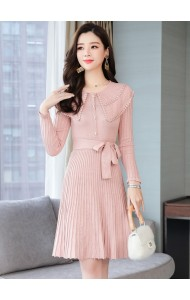 KDS10115882Q Collar pleated knit dress REAL PHOTO