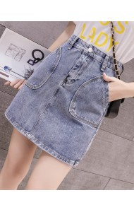 KSK10149003X Pocket denim mini skirt REAL PHOTO