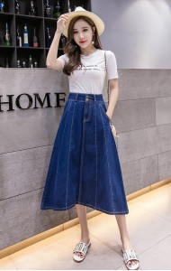 KSK1014232H Umbrella denim skirt REAL PHOTO