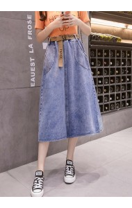 KSK1014523H A line belted denim skirt REAL PHOTO