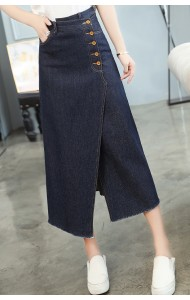 KSK1014171H Split button denim skirt REAL PHOTO