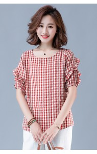 KTP10150191Y Checker ruffle sleeves cotton blouse REAL PHOTO