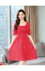 KDS10161199Y Red puff sleeves dress REAL PHOTO