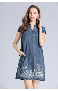 BDS10217359D Embroidery jeans cheongsum dress REAL PHOTO