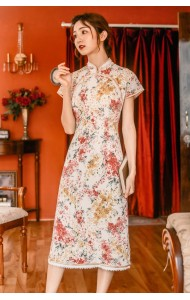 KDS10250891A Florrie cheongsum dress with lace trim REAL PHOTO