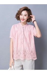 KTP09265288J Plus size hollow embroidery blouse REAL PHOTO