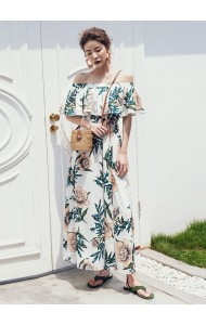 KDS1029139Y Off shoulder flower maxi split dress REAL PHOTO