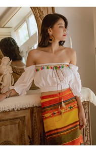 KTP1029599Y Off shoulder Bohemian top REAL PHOTO