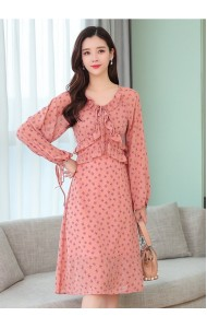 KDS10295308H Ruffle floral puff sleeves dress REAL PHOTO
