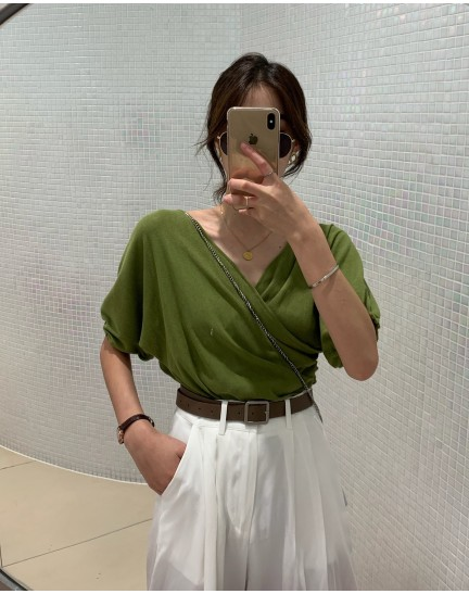 KTP10306704S Overlapping blouse REAL PHOTO