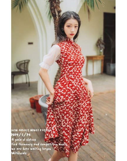 KDS10312266D Puff sleeves florrie red cheongusm REAL PHOTO