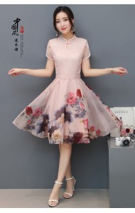 KD11012708X Organza florrie flared cheongsum REAL PHOTO