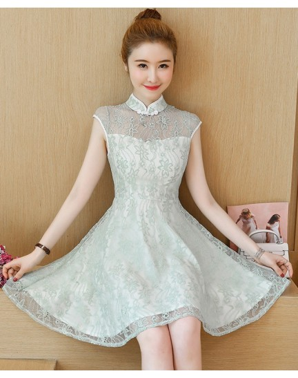 KDS11011383M Embroidery mesh shoulder cheongsum dress REAL PHOTO