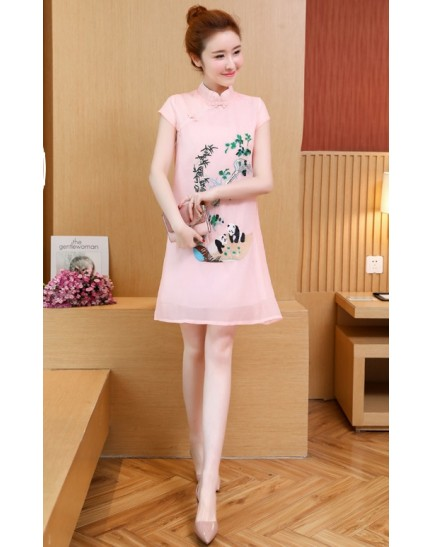 KDS11049183M Embroidery panda organza cheongsum dress REAL PHOTO