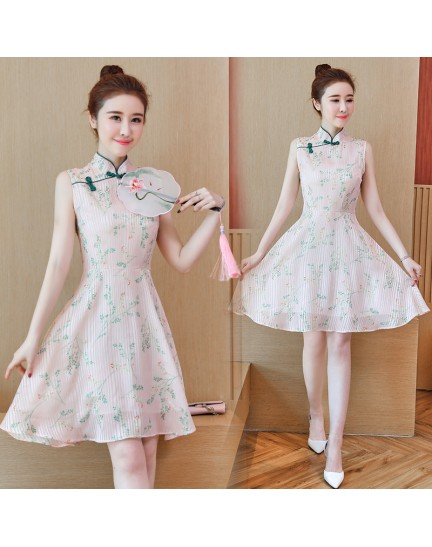 KDS11046551M Flared floral cheongsum dress REAL PHOTO