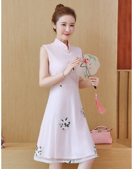 KDS11047551M Embroidery floral organza cheongsum dress REAL PHOTO