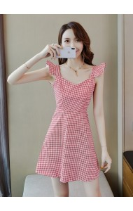 KDS11055799Q Ruffle sleeves checker mini dress REAL PHOTO
