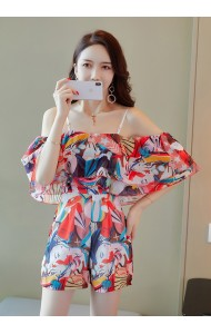 KJP11055399Q Off shoulder chiffon floral jumpsuit REAL PHOTO