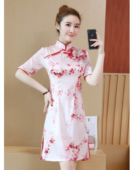 KDS11063251M Red floral cheongsum dress REAL PHOTO