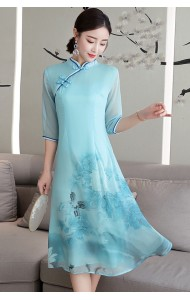 KDS11066619X Blue printed silk cheongsum dress REAL PHOTO