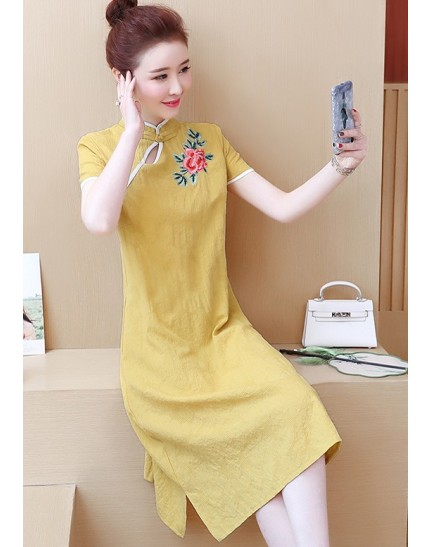 KDS11068206W Linen embroidery cheongsum dress REAL PHOTO