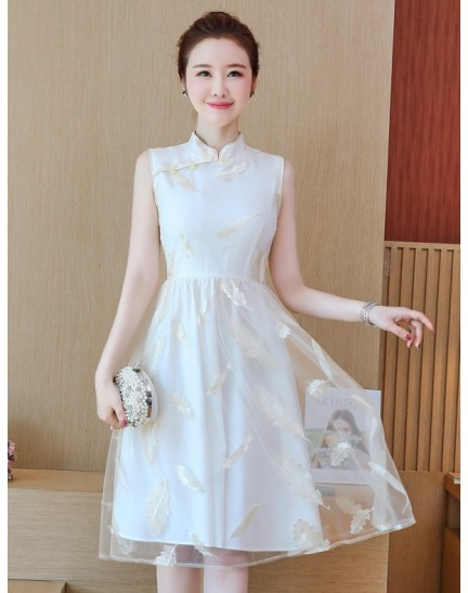 KDS11068351M Embroidery leaf cheongsum flared dress REAL PHOTO