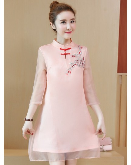 KDS11069251M Embroidery organza cheongsum dress REAL PHOTO