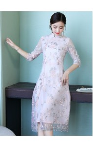 KDS11075251M Embroidery floral organza cheongsum dress REAL PHOTO