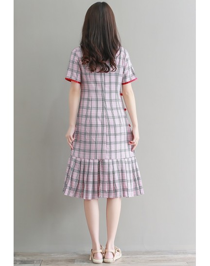 KDS1107358Y Plus size checker pleated mermaid cheongsum REAL PHOTO