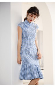 KDS110742AH Checker pleated mermaid cheongsum REAL PHOTO