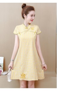 KDS1107589Y Plus size checker embroidery cheongsum REAL PHOTO