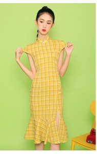 KDS110717AY Split yellow checker cheongsum REAL PHOTO