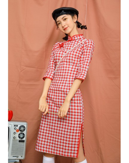 KDS110798AH Checker floral cheongsum REAL PHOTO