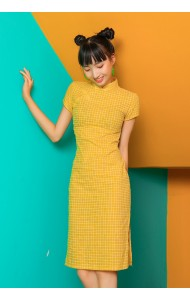KDS110726AH Yellow checker cheongsum REAL PHOTO