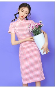 KDS110745AH Pink checker cheongsum REAL PHOTO
