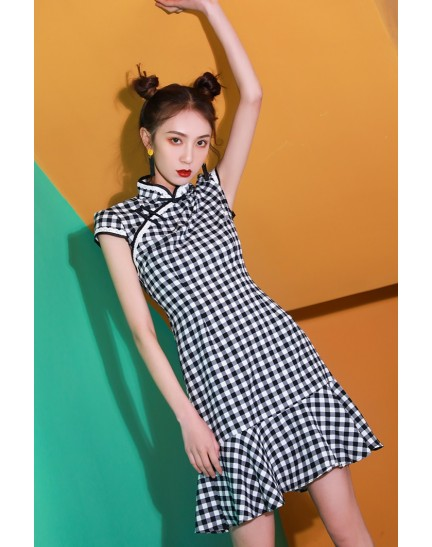 KDS110770AH Mermaid checker cheongsum with lace trim REAL PHOTO