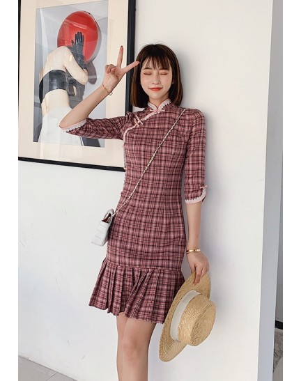 KDS1107301AH Mermaid checker cheongsum with lace trim REAL PHOTO