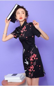 KDS110713AH Black floral cheongsum REAL PHOTO