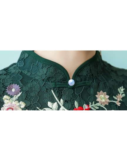 KDS11073346X Embroidery full lace split cheongsum REAL PHOTO