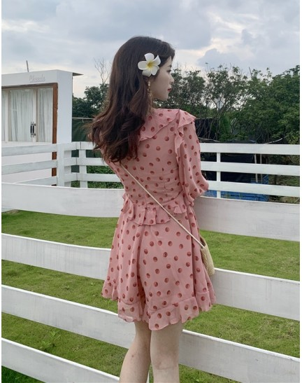 KDS11088326X Polka ruffle high waisted jumpsuit REAL PHOTO